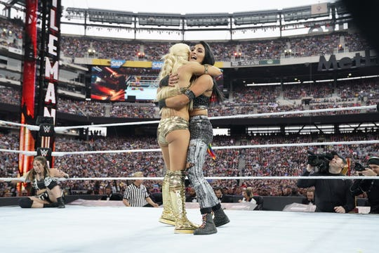 Sonya Deville, right, pictured at WrestleMania 35 at MetLife Stadium in East Rutherford on April 7, 2019.