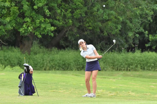 Wylie's Tatum McClellan hits a shot during the second round of the Class 5A state tournament at the White Wing Golf Club in Georgetown on Tuesday, May 14, 2019. The Lady Bulldogs tied for sixth in the state.