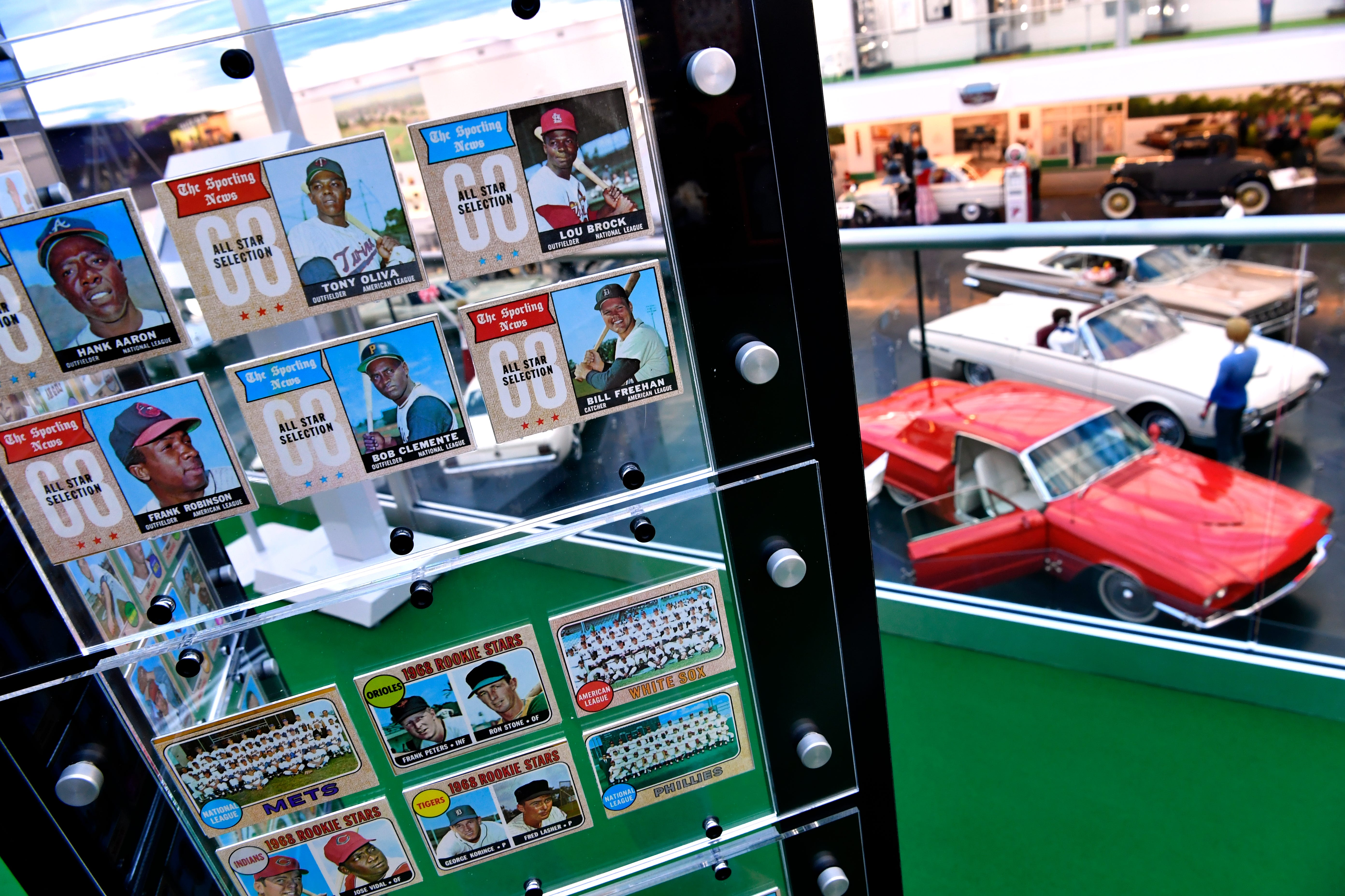 Baseball cards and other memorabilia from America's Pastime are on display on the second floor April 11, 2019. Woody's Classic Cars and Baseball Museum is located in Cross Plains.