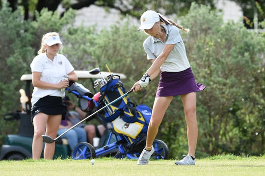Wylie's Brylee Valentine tees off at the 11th hole during the second round of the Class 5A state tournament.