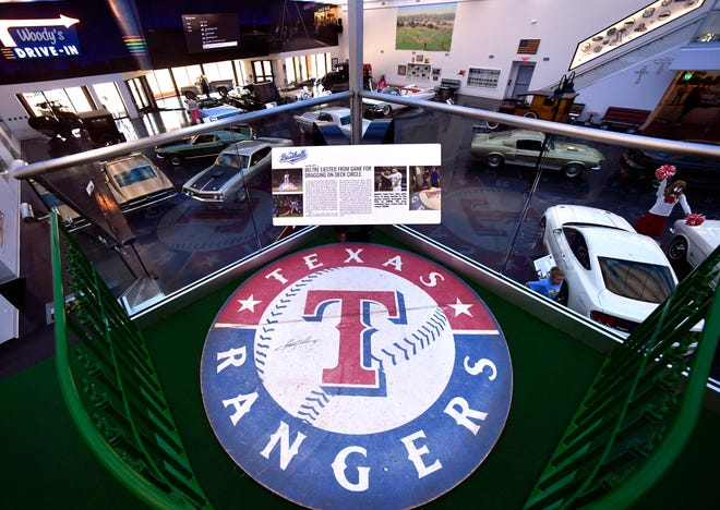 The on-deck circle that got Texas Rangers batter Adrian Beltre ejected from a 2017 game against Miami is on display at Woody's Classic Cars and Baseball Museum in Cross Plains.