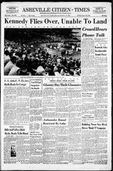 The Sunday, Sept. 18, 1960 edition of the Asheville Citizen-Times, which details a rally that Democratic presidential nominee John F. Kennedy had planned to attend in Asheville. Some 4,000 people came to McCormick Field for Kennedy's visit. Dense cloud cover did not allow for Kennedy's plane to land in Asheville. He instead delivered prepared remarks over the telephone from Charlotte.