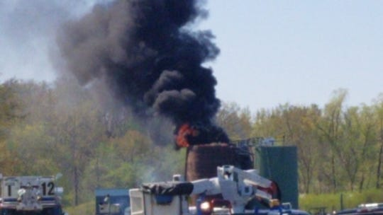 A oil tank fire was reported in Lee Township Tuesday.