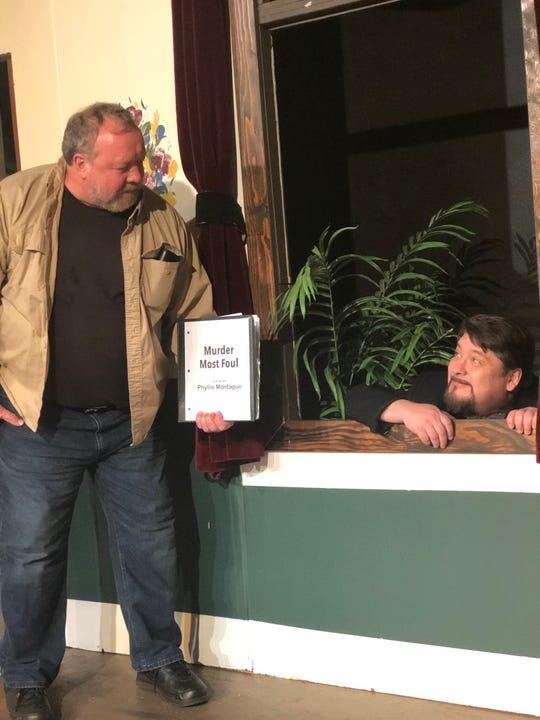 Stage manager Artie Manville (Pete Simpson, left) prompts actor Henry Benish (Michael Hanenburg) through a scene.