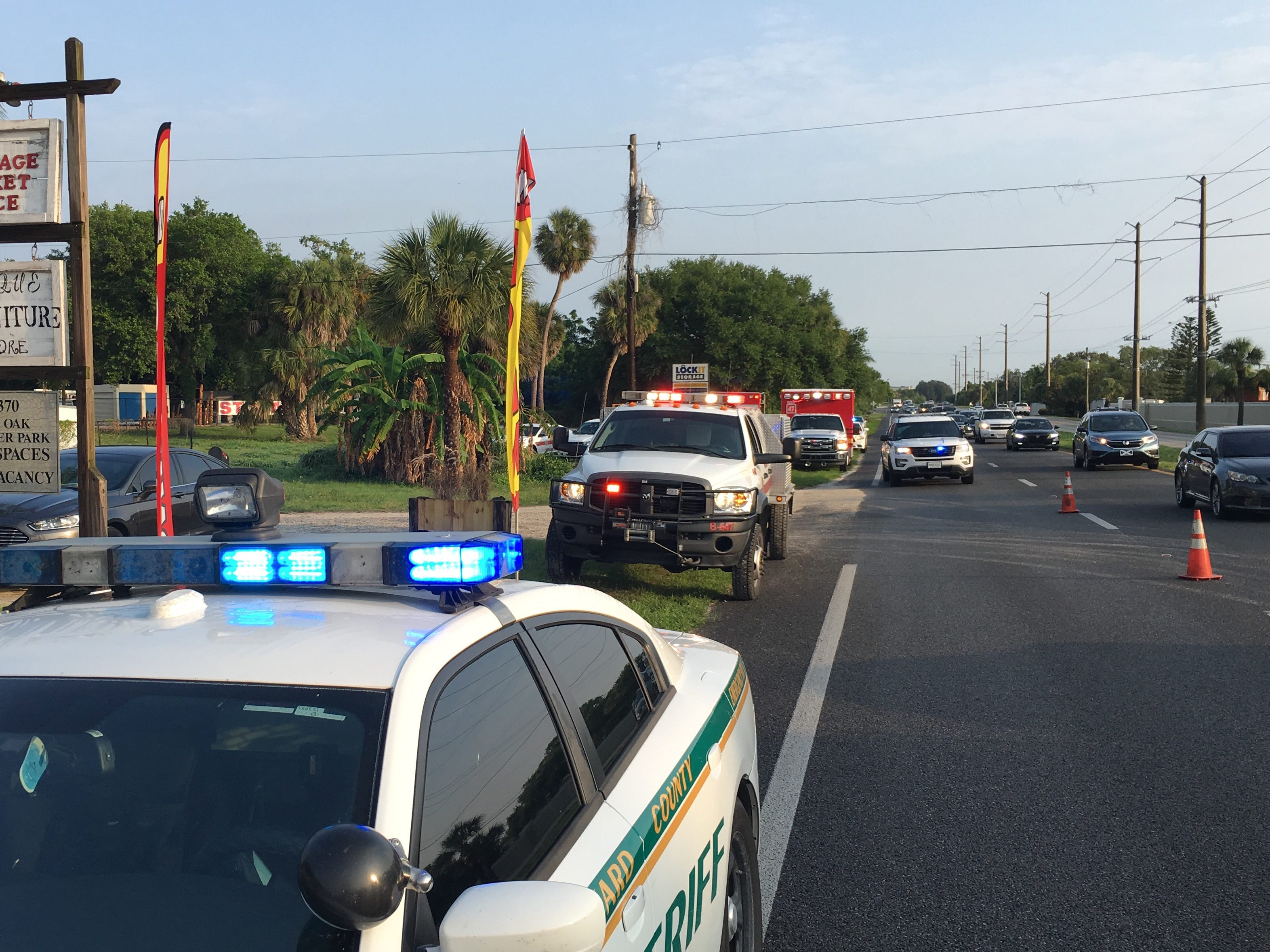 The fire was reported about 6:30 a.m. in a home in the 6300 block of U.S. 1 in Palm Shores.