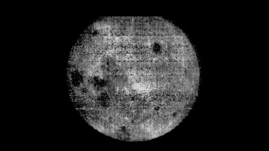 This 1959 photo, snapped by the Russian spacecraft Luna 3, provided the first look at the far side of the moon.