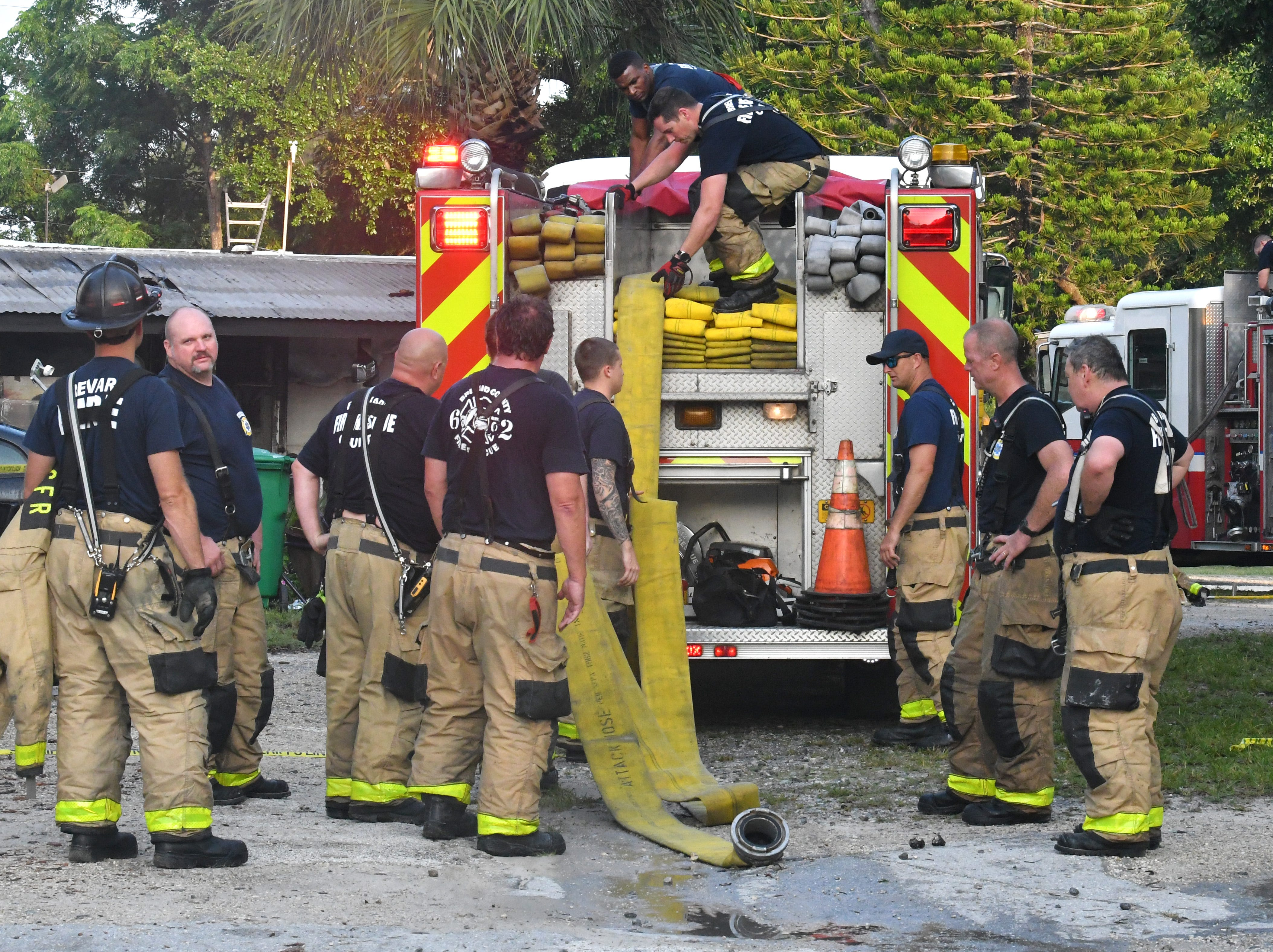 Multiple units of BCFR responded to an early Tuesday morning fire at a manufactured home on Allen Hill Ave. in Palm Shores off of U.S. 1, north of Pineda Causeway. One person was taken to the hospital. Southbound traffic on U.S.1 was backed up due to the emergency vehicle on the road.