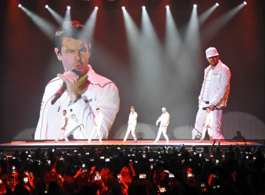 New Kids on the Block performs during the Mixtape Tour, Monday, May 13, 2019, at the American Bank Center. Salt N' Peppa, Tiffany, Debbie Gibson and Naughty By Nature also performed during the concert.