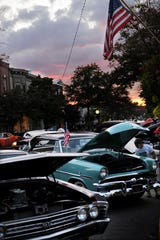 Classic and Antique cars line Haddon Avenue in Downtown Collingswood during Cruise Night.
