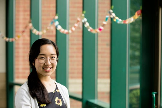 Jennifer Hong, Mason High School valedictorian, poses for a portrait in her high school in Mason, Ohio, on Friday, May 10, 2019. Hong has been accepted to Harvard where she plans to attend in the fall.