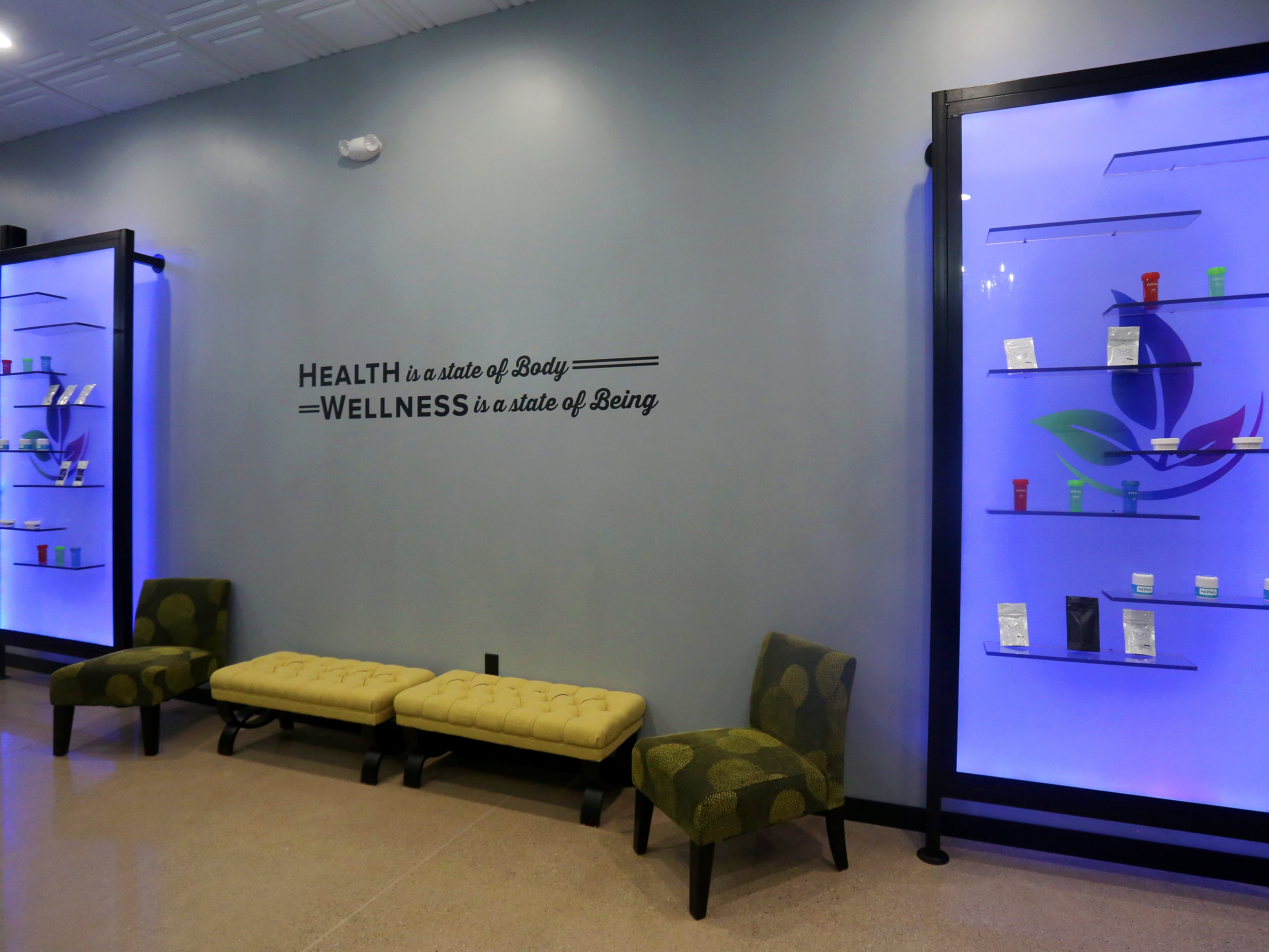 The showroom area of the About Wellness Ohio medical marijuana dispensary, in Lebanon, Ohio. The average price of marijuana sold in legal dispensaries since the beginning of the year remains well over $400 an ounce, according to state figures.
