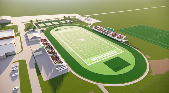 An artist's conception of the new Harrison High School athletic complex.