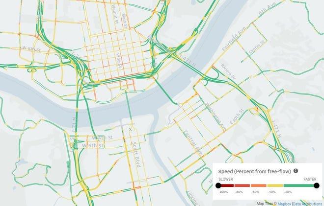 A screenshot of Uber Movement's Speeds data for Cincinnati