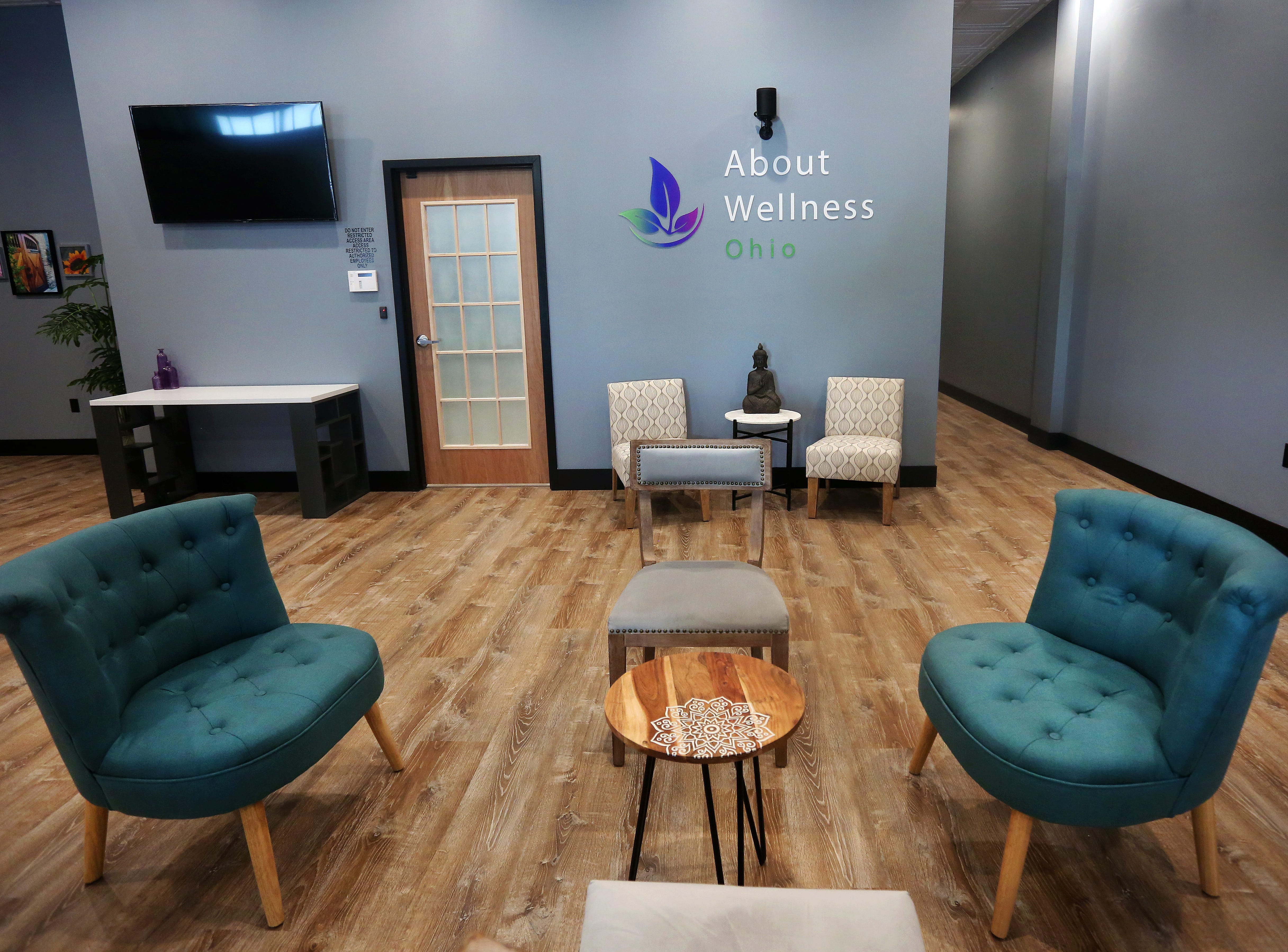 Pictured is the main waiting area inside of the About Wellness Ohio medical marijuana dispensary.