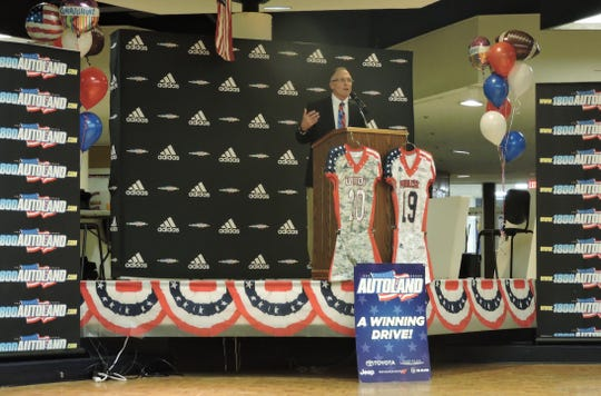 Marcus Borden speaks during the Autoland Classic press conference