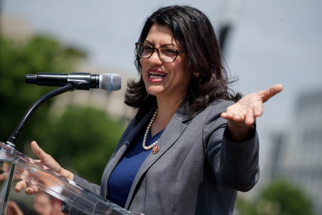 US Democratic Congresswoman from Michigan Rashida Tlaib participates in a rally near the US Capitol in Washington, DC, 30 April 2019.