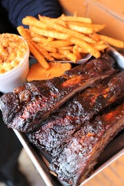 The three bone back rib plate ($16) from A.B.'s Amazing Ribs, a halal barbecue joint in Dearborn Heights.