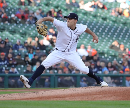 Matthew Boyd pitches against the Astros during the first inning Monday at Comerica Park.
