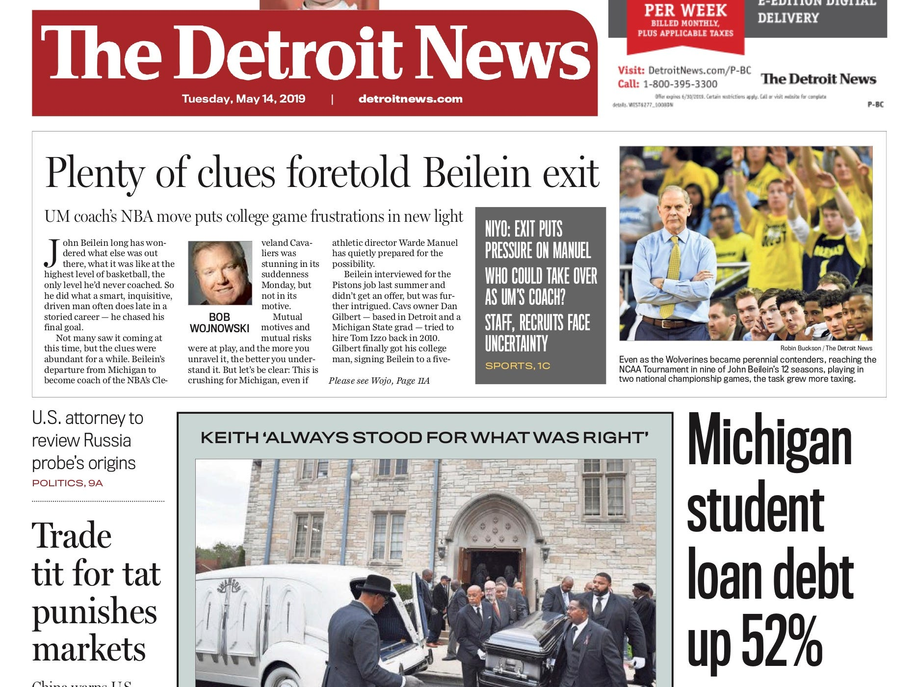 The front page of the Detroit News on May 14, 2019