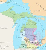 This map of Congressional Districts in Michigan reflects district boundaries current to the 113th United States Congress.