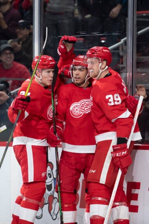 Center Andreas Athanasiou (middle) and forward Anthony Mantha (39) combined for 55 goals last season.