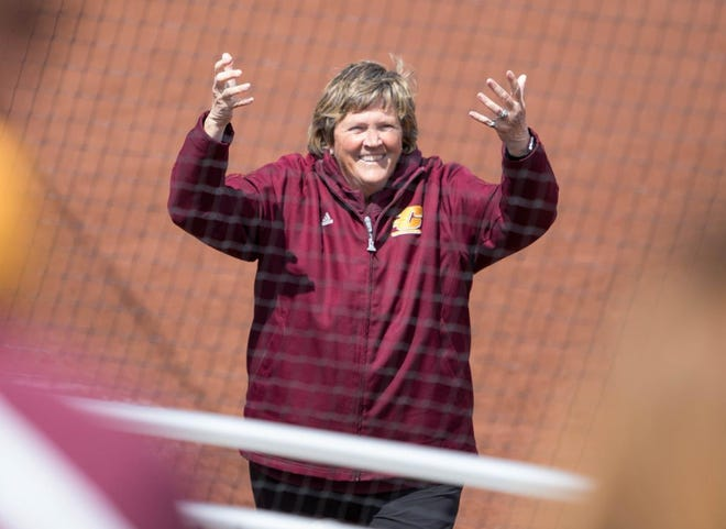 Margo Jonker coached Central Michigan softball for 40 years.