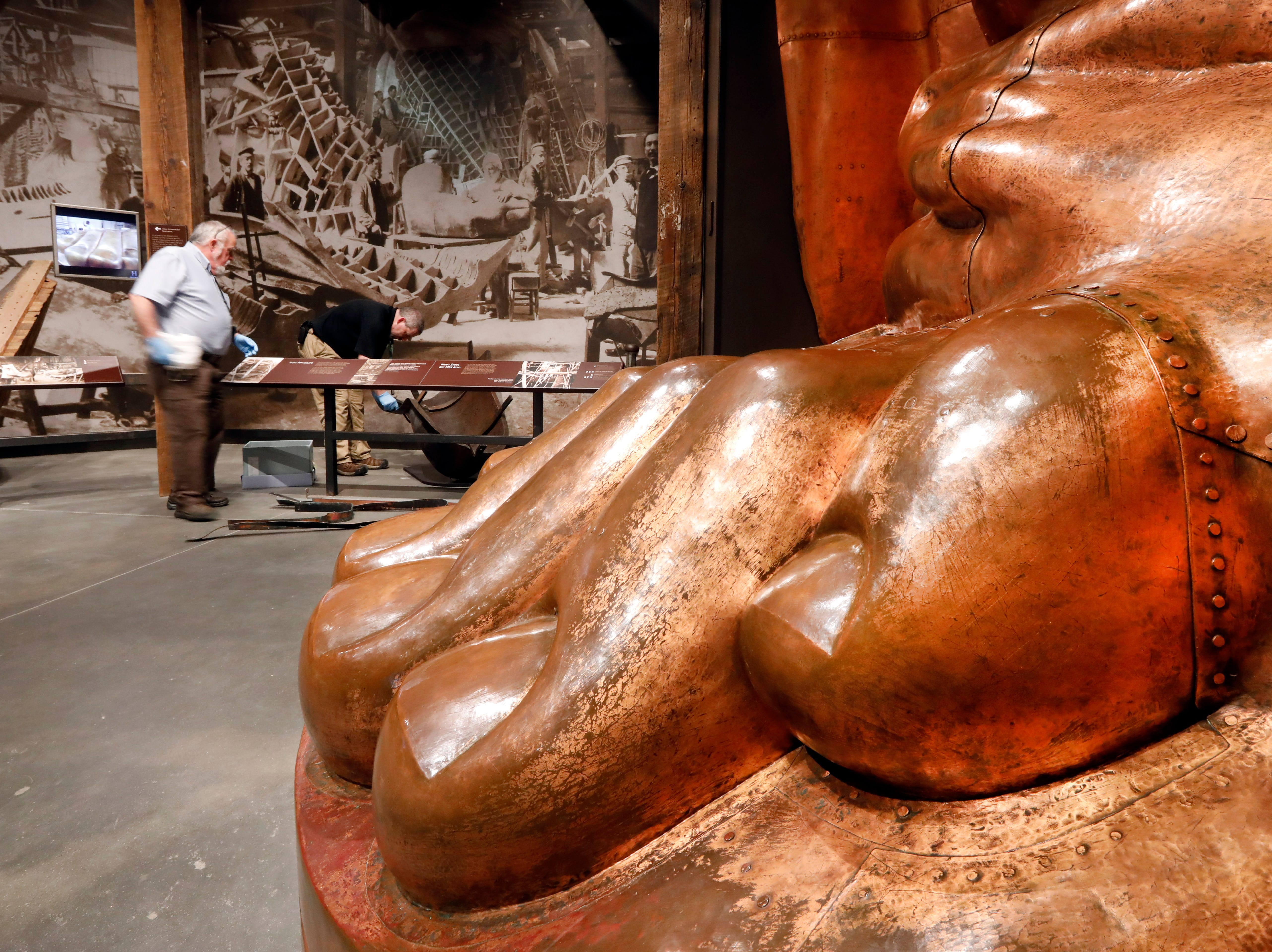 A full-scale model of the Statue of Liberty's foot is among the artifacts displayed in the new Statue of Liberty Museum, on Liberty Island, in New York, Monday, May 13, 2019.
