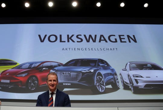 Herbert Diess CEO of the Volkswagen stock company, arrives for the company's annual general meeting in Berlin, Germany, Tuesday, May 14, 2019.