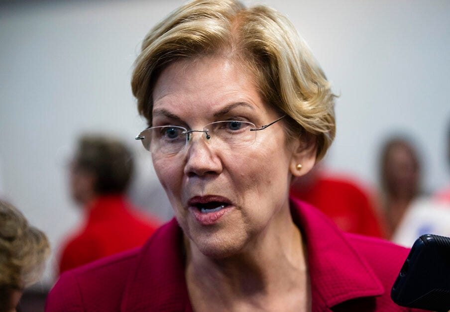 Democratic presidential candidate Sen. Elizabeth Warren, D-Mass., attends an American Federation of Teachers town hall event, at the Plumbers Local 690 Union Hall in Philadelphia, Monday, May 13, 2019.