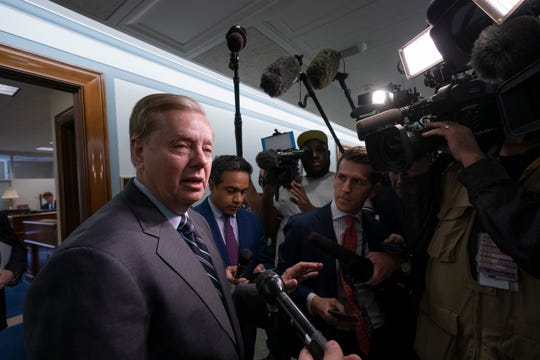 Sen. Lindsey Graham, R-S.C., chairman of the Senate Judiciary Committee, responds to reporters about his earlier advice to Donald Trump Jr. on being subpoenaed by the Senate Intelligence Committee, on Capitol Hill in Washington, Tuesday, May 14, 2019.