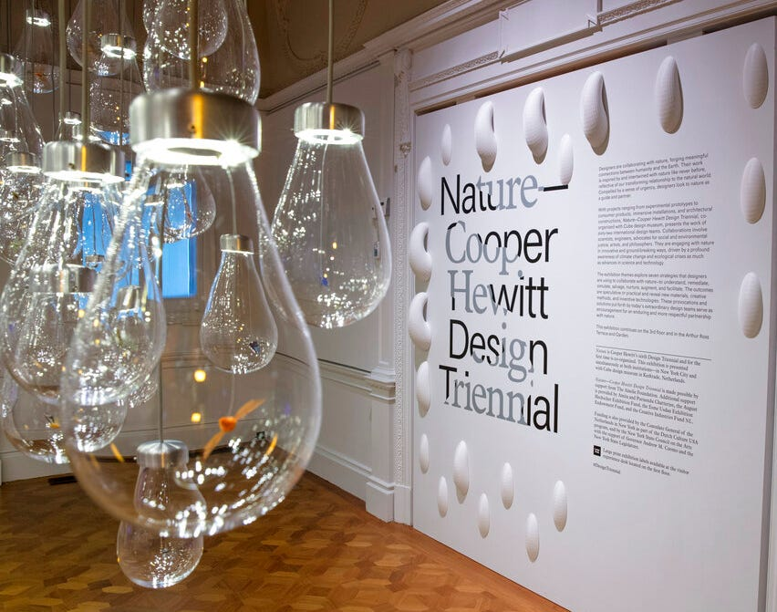 "This May 9, 2019 photo shows an Installation view of ""Nature—Cooper Hewitt Design Triennial"" at the Cooper Hewitt, Smithsonian Design Museum in New York."