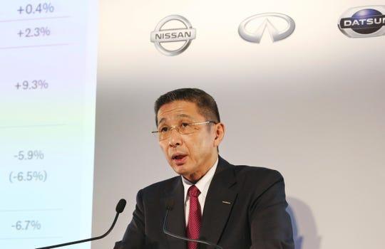 Nissan Motor Co. Chief Executive Hiroto Saikawa speaks during a press conference at its Global Headquarters in Yokohama, near Tokyo Tuesday, May 14, 2019.
