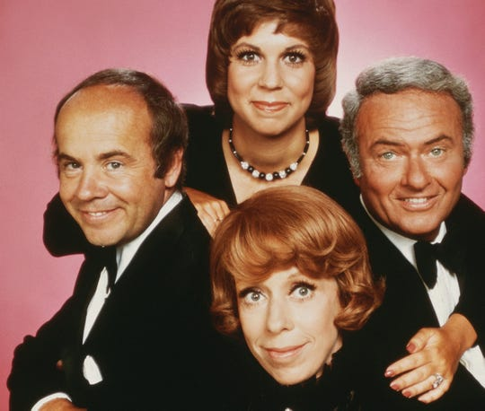 "Tim Conway, star of ""The Carol Burnett Show,"" has died at 85, according to his publiscist. Conway, left, is shown with Vicki Lawrence, top, Harvey Korman and Carol Burnett.."