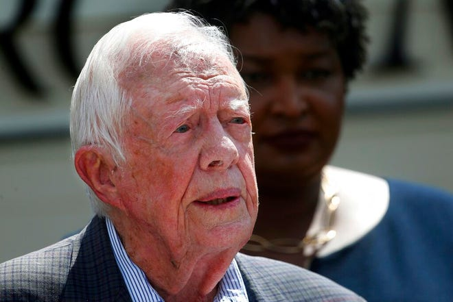 In this Sept. 18, 2018 file photo, former President Jimmy Carter speaks during a news conference, in Plains, Ga