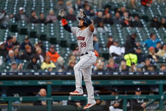 Houston Astros' Robinson Chirinos celebrates his solo home run in the second inning off Tigers starter Matthew Boyd Monday. The Astros beat the Tigers 8-1.