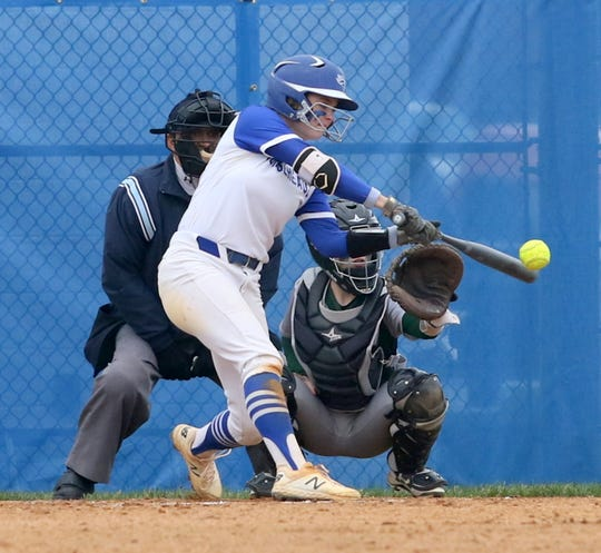 Kendal Cook takes a swing for Horseheads against Vestal on April 30, 2019 at Horseheads Middle School.