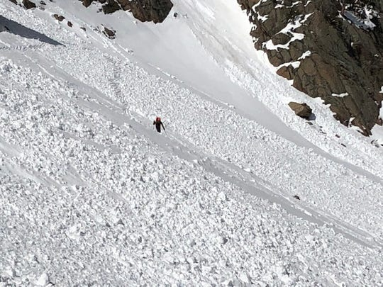 Two people were partially buried in this avalanche in Rocky Mountain National Park on Saturday. Both sustained minor injuries.