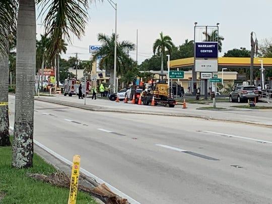 Palm Beach Blvd shutdown for gas leak.