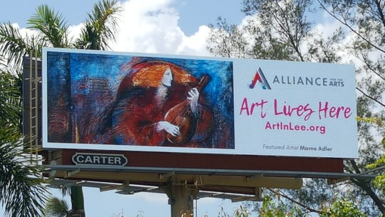 "The Alliance for the Arts' ""Art Lives Here"" exhibit displays paintings by local artists on billboards throughout Lee County. Pictured here is Marne Adler's ""Night Player,"" one of nine paintings displayed on the digital billboard at the intersection of U.S. 41 and Gladiolus Drive."