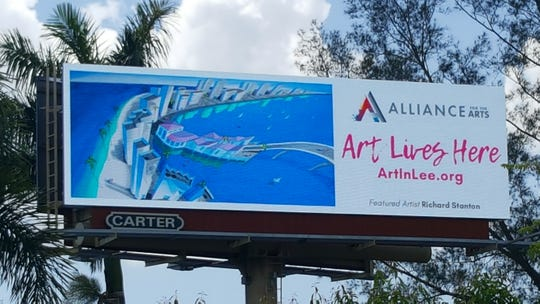 "The Alliance for the Arts' ""Art Lives Here"" exhibit displays paintings by local artists on billboards throughout Lee County. Richard Stanton's ""Beachwalk"" is one of nine paintings displayed on the digital billboard at the intersection of U.S. 41 and Gladiolus Drive."