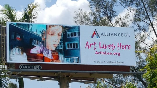 "The Alliance for the Arts' ""Art Lives Here"" exhibit displays paintings by local artists on billboards throughout Lee County. Cheryl Fausel's ""Reflections of Zurich II"" is one of nine paintings displayed on the digital billboard at the intersection of U.S. 41 and Gladiolus Drive."