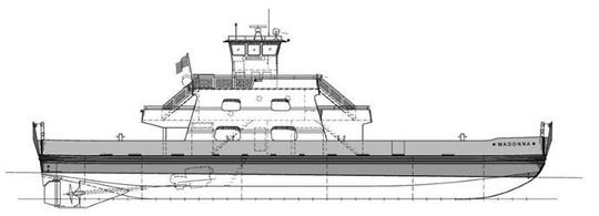A drawing of the Madonna, a new ferry boat commissioned by the Washington Island Ferry Line and being built by Fincantieri Bay Shipbuilding in Sturgeon Bay, It is expected to be delivered to the ferry line next May 2020.