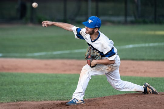 Eastside's Hunter Taylor throws a pitch to Midland Valley during game one of the AAAA state championship finals Monday, May 13, 2019. Eastside won 11-1.