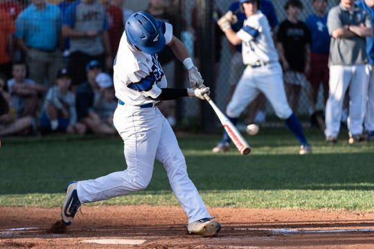 Eastside's Wyatt Spurrier bats against Midland Valley during Game 1 of the Class AAAA state championship baseball series.
