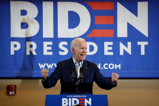 Former Vice President and Democratic presidential candidate Joe Biden speaks at a rally with members of a painters and construction union, on May 7, 2019, in Henderson, Nev.