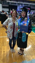 Irene Racquel Toves Acfalle, recieved her certificate in Medical Assisting on May 10 from Guam Community College at the University of Guam. Pictured: Belmarie Toves and Irene Racquel Toves Acfalle.