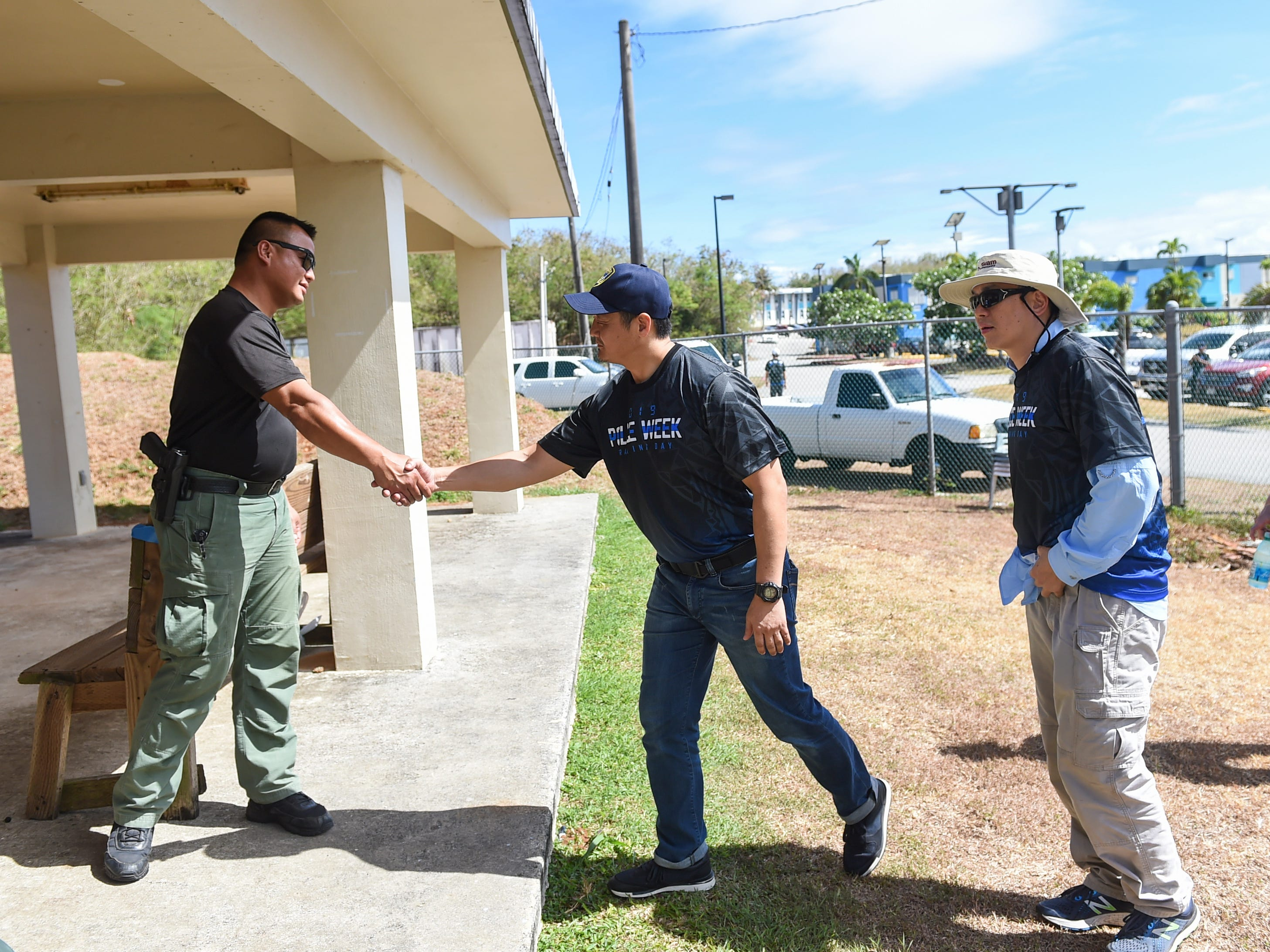 Executives from various companies meet with Guam Police Department officers for firearms training at GPD's shooting range on the Guam Community College campus in Mangilao, May 14, 2019.