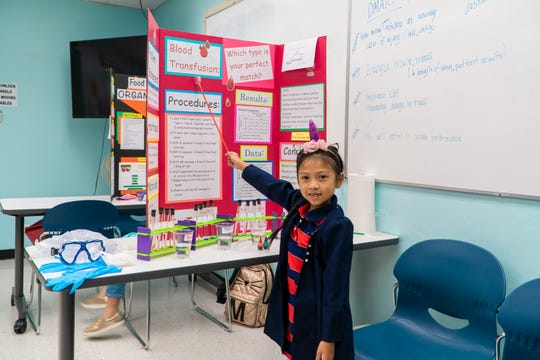 "Xylah Limtuatco of Machananao Elementary School, with her project: ""Blood Transfusion: Which type is your perfect match?"""