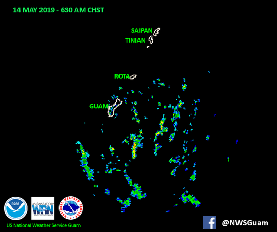 A National Weather Service radar shows signs of rain on May 14, 2019.