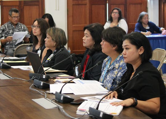 From left, Guam Memorial Hospital assistant CFO Yuka Hechanova, hospital Administrator Lillian Perez-Posadas, now-resigned CFO Benita Manglona, Medical Director Dr. Annie Bordallo and associate administrator Dr. Joleen Aguon prepare to present the hospital's 2020 budget request in this May 14 file photo.